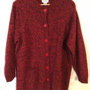 803d815f04 Vicky Wayne Red   Black Sweater Coat Size 2 XL